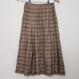 Vintage Loewe 1846 Plaid Pleated Midi Skirt, sz 42